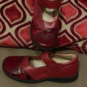 Red Naturino Leather/ Patent Leather combo